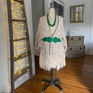 High end boutique Boho style shawl with fringe